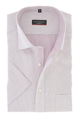 ETERNA Herren Kurzarm Hemd aus 100% Baumwolle Modern Fit mit Kent Kragen tailliert geschnitten Gr. 43 Rosa mit Muster