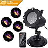Christmas Light Projector, LUXONIC Waterproof Outdoor Holiday Projection Night Light Decoration Landscape Animated Projector Lamp with Remote Control and 10 Slides for Party, Christmas, Halloween