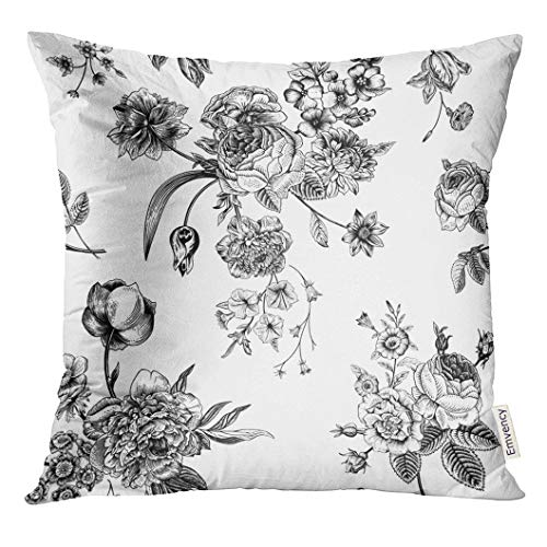 - UPOOS Throw Pillow Cover Floral Vintage with Victorian Bouquet of Black Flowers on White Garden Roses Tulips Delphinium Petunia Decorative Pillow Case Home Decor Square 18x18 Inches Pillowcase