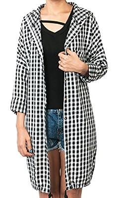 Howels Plaid Check Hooded Tunic Shirt Dress Longline Button Down Jacket