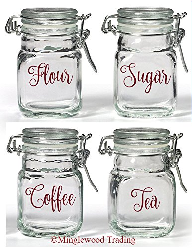 (Set of 4 Canister Labels - V2 - Vinyl Decal Stickers Kitchen Flour Sugar Tea Coffee - 20 Color Options -)