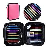 Circular Knitting Needles Set Size 13 Interchangeable Aluminum Knitting Needles Circular 2.75mm-10mm with Case