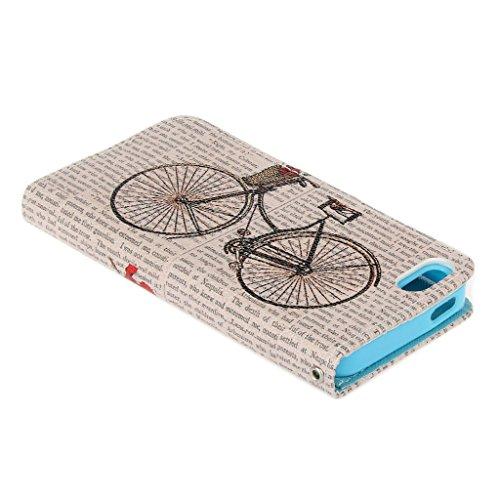 iPhone 5S 5 5e Hülle,Fodlon® Fashion-Modelle PU-Leder-Mappe Relief Entwurf Schutzhülle mit Ständer und Kartenhalter für iPhone 5 5S 5e-Retro Fahrrad