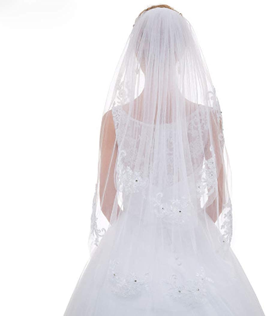 White Bridal Veils for brides two tiers tulle lace with comb wedding Bridal Accessories