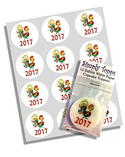 12 2017 Chinese New Year Colourful Rooster Cupcake Toppers Ricepaper Decoration -