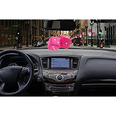 Zone Tech Pair Black and White Mirror Fuzzy Dice - Pair Black and White Plush Car Mirror Fuzzy Dice Pair (Pink): Automotive