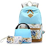 TechCode Casual Daypack, Lightweight School Bags Bookbag School Rucksack Canvas School Backpack College Laptop Backpacks with Small Lunch Bag & Pencil Case for Teenager Girls Boys More(Light Blue)