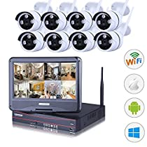 HD 8CH 960P Network Wireless Outdoor IP Camera System With Build-in 10.1 LCD Monitor, Eight 1.3 MP Bullet NVR Wifi Kit Without Hard Drive by SHY