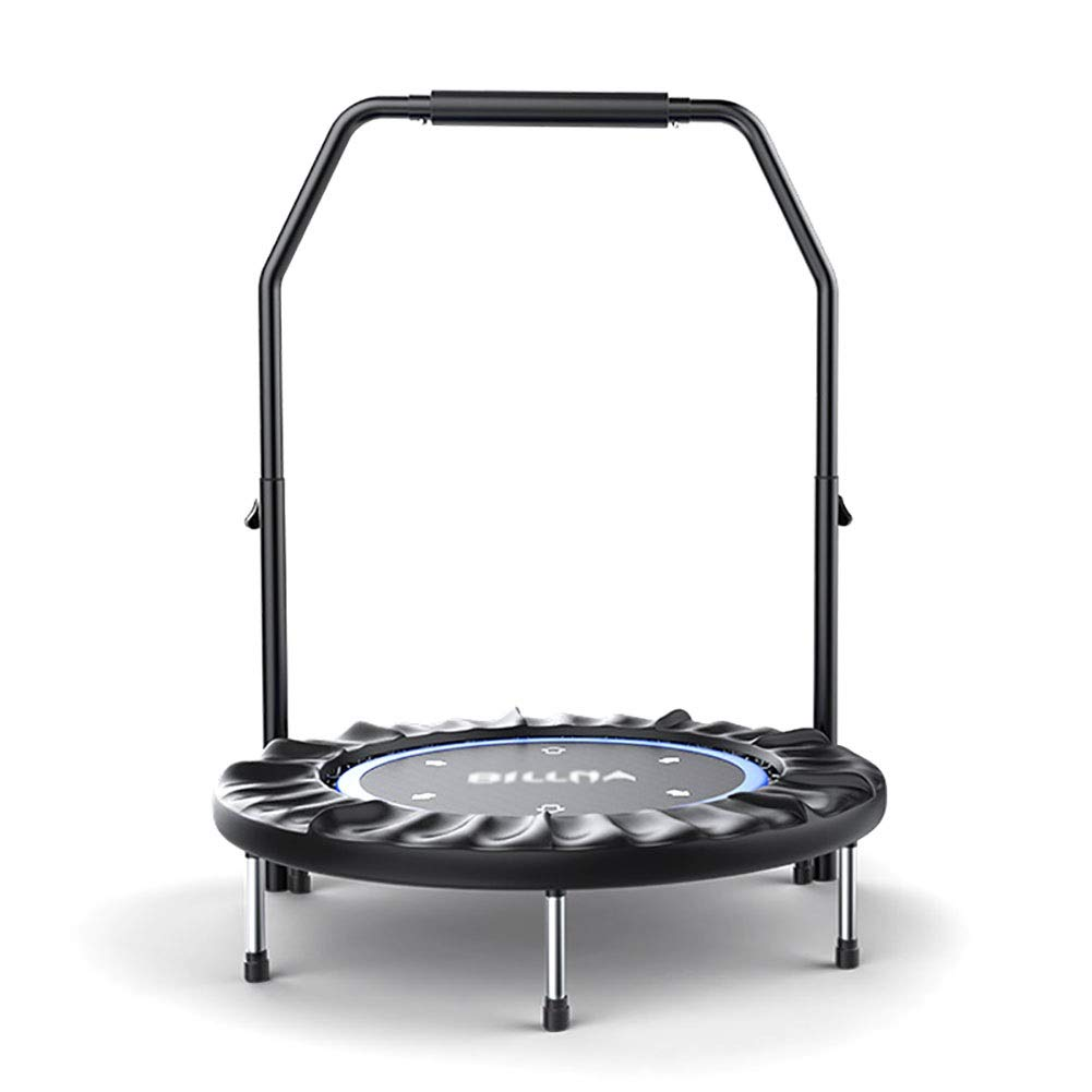 bluee Folding Mini Fitness Trampolines with Adjustable Handrail, Cardio Exercise Bounce Equipment for Adults and Kids, 40'', 200kg Load