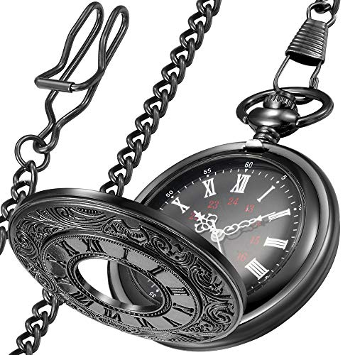 (LYMFHCH Vintage Roman Numerals Quartz Pocket Watch, Men Womens Watch with Chain As Xmas Fathers Day Gift )