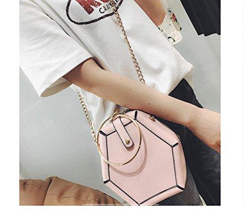 Bolso Redondo Pequeño De Cuero De La Calidad De GSHGA Mujeres Bolso De Hombro Del Mensajero Del Hombro,Grey Pink