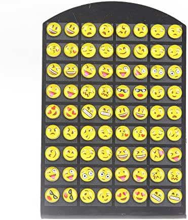 YEYULIN Round Yellow Resin Emoji Stud Earrings Women Girl 36 pairs Jewelry