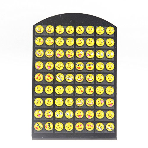 YEYULIN Round Yellow Resin Emoji Stud Earrings Girl 36 pairs Jewelry -