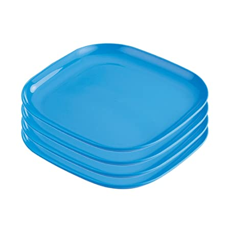 Prime Housewares Microwave Square Full 11 inch Dinner Plates (4 Pcs Set) Blue color (3413_B) Dinnerware & Serving Pieces at amazon