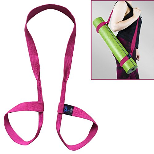 NJ·SJ 2 in 1 Adjustable Yoga Mat Carry Strap Sling & Fitness Stretching Strap,Durable Cotton/Polyester Canvas Strap,Come with (Mat not included,71