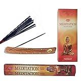 Incense Sticks + Incense Holder, Combo pack MEDITATION 120 Sticks & 1 Wooden Burner 10'' Aromatherapy benefits