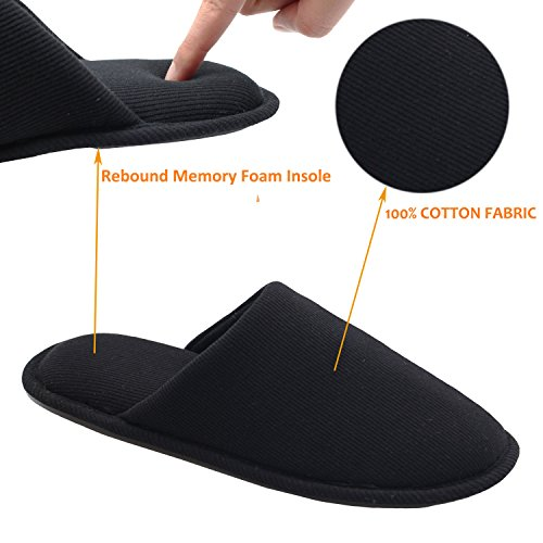 Ofoot Mujeres Cosy Thread Cloth Pantuflas De Casa De Algodón Orgánico, Interior Plano / Al Aire Libre Lavable Slip On Zapatos Negro