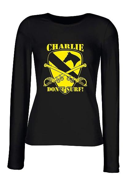 T-Shirt para Las Mujeres Manga Larga Negra T1018 Charlie Don T Surf Militari: Amazon.es: Ropa y accesorios