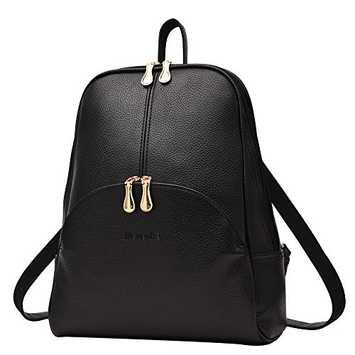 Nevenka Brand Women Bags Backpack PU Leather Satchel Purse Casual Backpacks Shoulder Bags (BLACK)
