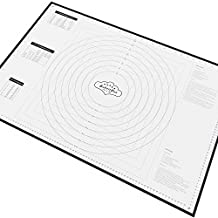 BakeitFun XX-Large Silicone Pastry Mat With Measurements, 85 x 57 cm, Full Sticks To Countertop For Rolling Dough, Conversion Information Included, Perfect Fondant Surface, Professional Size, Black