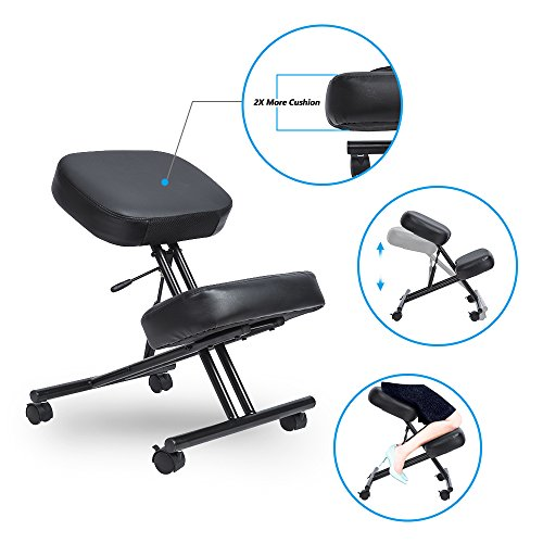 LCH Ergonomic Leather Kneeling Chair - Adjustable Knee Stool with Thick Double Padded Cushions For Home and Office (Chair Seat Height 21 Inch)