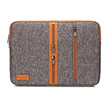 "DOMISO 13 Inch Unique Canvas Laptop Sleeve Case 3 Side Pockets Functional Computer Bag for Apple 13"" MacBook Pro / 13.5"" Microsoft Surface Book / 13.3"" Notebook, Brown"