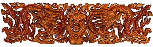 Hand Carved Wood Art Sculpture (Dragon Wood Hand Carved Large Wall Hanging Art Sculpture Asian Oriental Accents Decorataive Boho Home)