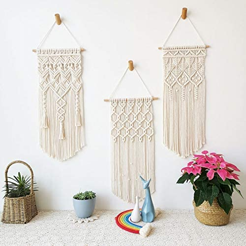 Fashionstorm 3 Pack Macrame Wall Hanging Tapestry Boho Macrame Tapestry Woven Home Decor Wall Pediment