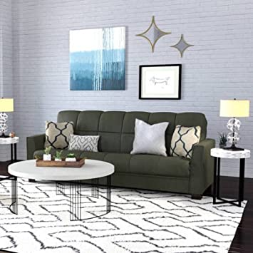 Amazon.com: Baja futón sofá cama, salvia gris, marco de ...