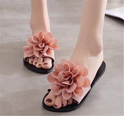 Plat de Chaussures des Fond Fleur Plage Dames YUCH Chaussons 50wxx