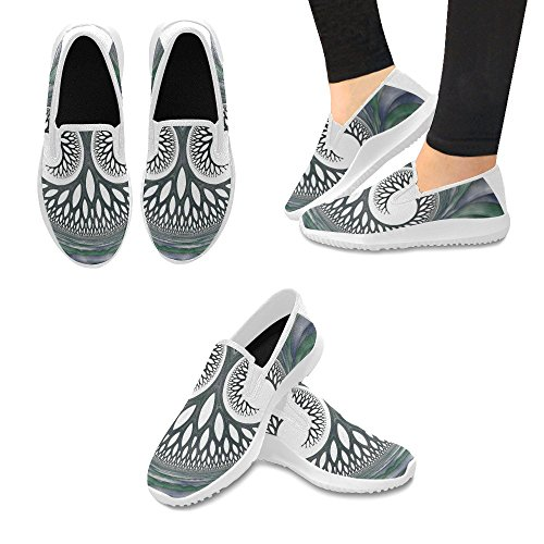 Shoes On Tree InterestPrint 1 Slip Loafer Abstract Fashion Fractal Multi Womens Canvas Sneakers Face YwdBqw8