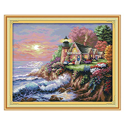 SM SunniMix Pre Printed Cross Stitch kit Seaside & Lighthouse 11CT Patterns Embroidery DIY Art Crafts & Sewing Needlepoints Kit - 56 × 45cm