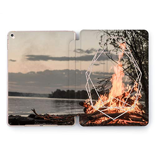 Wonder Wild Lake Fire iPad Case 9.7 Pro inch Mini 1 2 3 4 Air 2 10.5 12.9 2018 2017 Design 5th 6th Gen Clear Print Smart Hard Cover Nature Picture Camping Shore Flame Tree Sunset Trip Adventure Best -