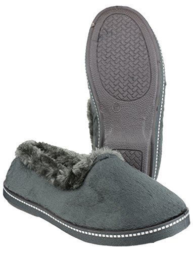 Mirak Mirak Ladies Dijon Faux Fur Accented Textile Stitch Slipper Grey Textile Grey hsQ5Hl