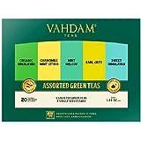 VAHDAM, Green Tea Sampler, 5 TEAS - Tea Variety Pack | Assorted Green Tea Bags | Organic Green Tea, Mint, Earl Grey…