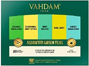 VAHDAM, Green Tea Sampler, 5 TEAS - Tea Variety Pack | Assorted Green Tea Bags | Organic Green Tea, Mint, Earl Grey, Chamomile Tea Bags | Tea Gift Set & Tea Gift