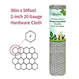 mesh wire fence - 2 inch Hexagonal Poultry Netting Galvanized Chicken Wire Mesh Fence 20gauge Large Frame with Chicken Netting Wire Rabbits Pets Dog Cat Vegetable Garden Fencing Backyard Raised Flower Bed 36inchx50ft
