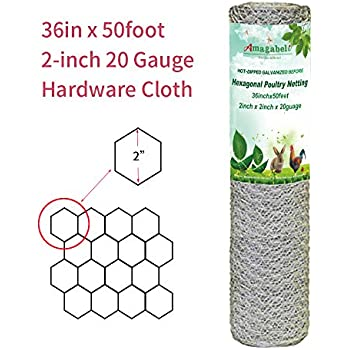 2 inch Hexagonal Poultry Netting Galvanized Chicken Wire Mesh Fence 20gauge Large Frame with Chicken Netting Wire Rabbits Pets Dog Cat Vegetable Garden Fencing Backyard Raised Flower Bed 36inchx50ft
