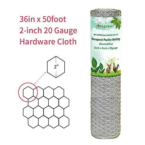 2 inch Hexagonal Poultry Netting Galvanized Chicken Wire Mesh Fence 20gauge Large Frame with Chicken Netting Wire Rabbits Pets Dog Cat Vegetable Garden Fencing Backyard Raised Flower Bed 36inchx50ft]()