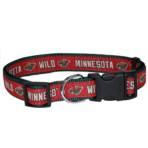 Pets First NHL Minnesota Wild Collar for Dogs & Cats, Large. - Adjustable, Cute & Stylish! The Ultimate Hockey Fan Collar!