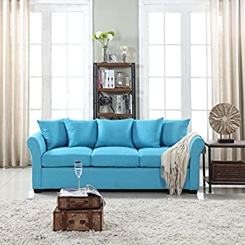 Classic And Traditional Ultra Comfortable Linen Fabric Sofa   Living Room  Fabric Couch (Sky Blue