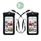 Neworld Waterproof Phone Case, Universal Dry Pouch Outdoor Cell Phone Underwater Bag with Straps for iPhone Xs max 8 7s 7Plus, Samsung Galaxy,Edge Note 5 4 3 HTC One M8,Huawei, Sony (2 Pack)