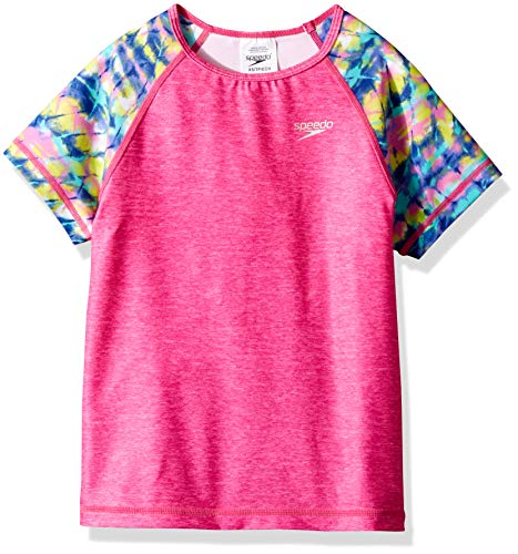 Speedo Short Sleeve Printed Short Sleeve Rashguard Shirt, Bright Pink, ()
