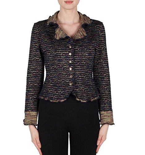 Joseph Ribkoff Multi-Colored Cropped Jacket with Ruffled Hem Style 173687 Size 6