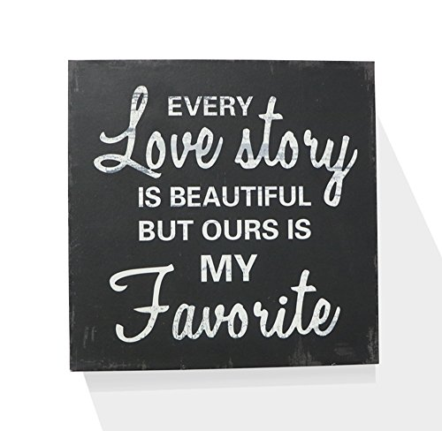 Every Love Story Is Beautiful Wooden Box Wall Art Sign, Primitive Country Farmhouse Home Decor Sign With Sayings 8