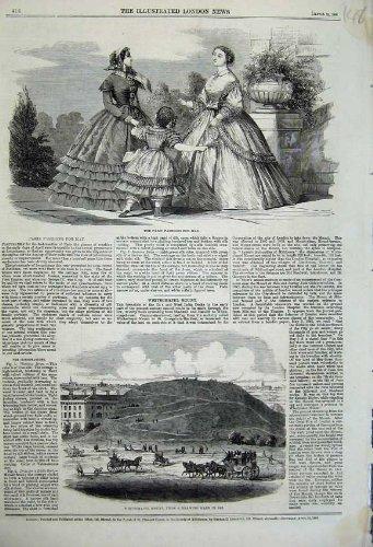1860 Coach - old-print Print 1860 Paris Fashion Whitechapel Moun Horses Coach People 148N109