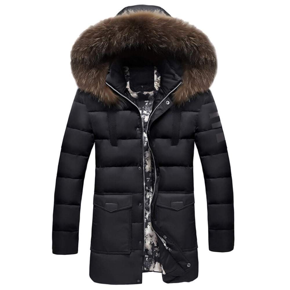Btruely Daunenjacke Herren Winterjacke Slim Fit Hooded Jacke Gefütterte Steppjacke Gefüttert mit Kapuze Oberbekleidung Lange Wintermantel Mode Mantel