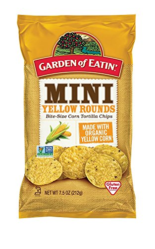 Organic Tortilla Chips - Garden of Eatin' Mini Yellow Rounds Corn Tortilla Chips, 7.5 oz. (Pack of 12) (Packaging May Vary)