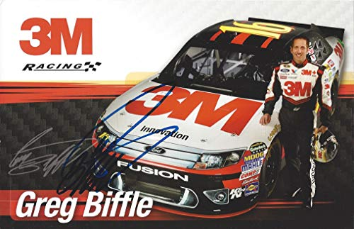 (AUTOGRAPHED Greg Biffle #16 Roush Racing Ford Fusion (3M Team) Sprint Cup Series Driver 5X7 Inch Signed Collectible Picture NASCAR Hero Card Photo with COA)