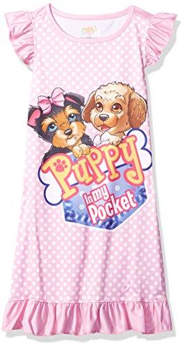 (Puppy in My Pocket Little Girls' Puppy in My Pocket Puppy Ruffle Nightgown, Pink, 4/5 )